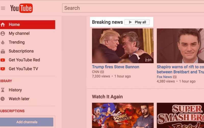 YouTube Breaking News Feature